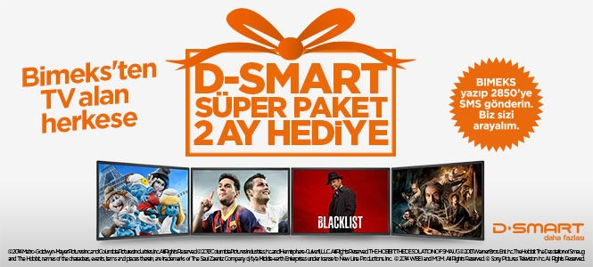 Bimeks'ten TV alan herkese 2 ay D-Smart Süper Paket hediye