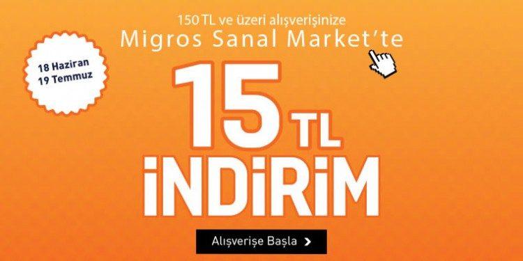 YKM Alışverişiniz Migros'ta 15 TL İndirim Kazandırıyor