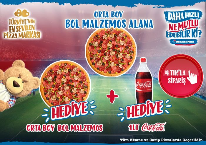 Bir Orta Boy Pizza Alana İkinci Orta Boy Pizza ve Coca Cola Hediye!