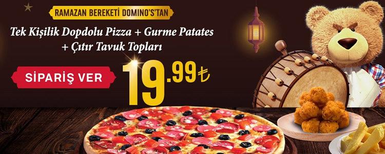 Dopdolu Pizza + Patates + Çıtır Tavuk Topları 19,99 TL