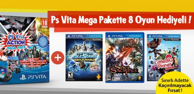 Sony PS Vita Action Mega Pack 8 Oyun Hediyeli!
