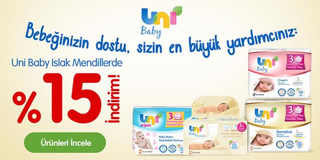 Uni Baby Islak Mendil Ürünlerinde %15 İndirim