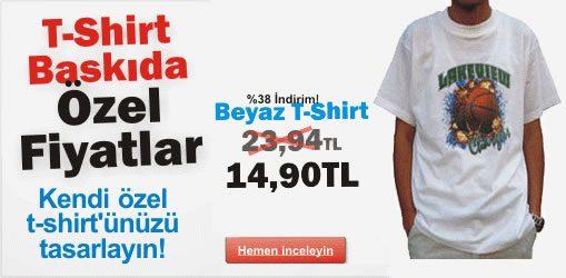 Baskılı Beyaz T-Shirt'te %38 Fottom İndirimi