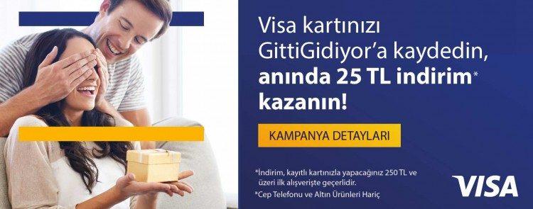 Visa Kartınızı GittiGidiyor'a Kaydedin Anında 25 TL İndirim Kazanın!