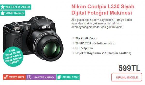 Nikon Coolpix L330 599 TL + Hafıza Kartı + Çanta Hediye