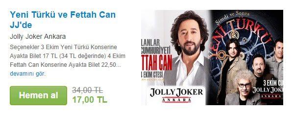 Yeni Türkü ve Fettah Can Konser Biletleri %50 İndirimli