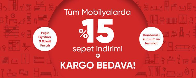 Tüm Mobilyalarda Sepette %15 Hepsiburada İndirimi