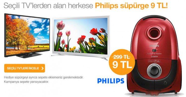 Televizyon alana Philips Hepa filtreli elektrikli süpürge sadece 9 TL