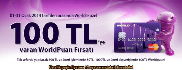 100 TL'ye Varan Worldpuan Fırsatı