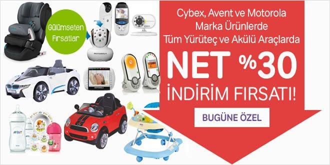 Cybex, Avent, Motorola, Yürüteç ve Akülü Araçlarda Net %30 İndirim
