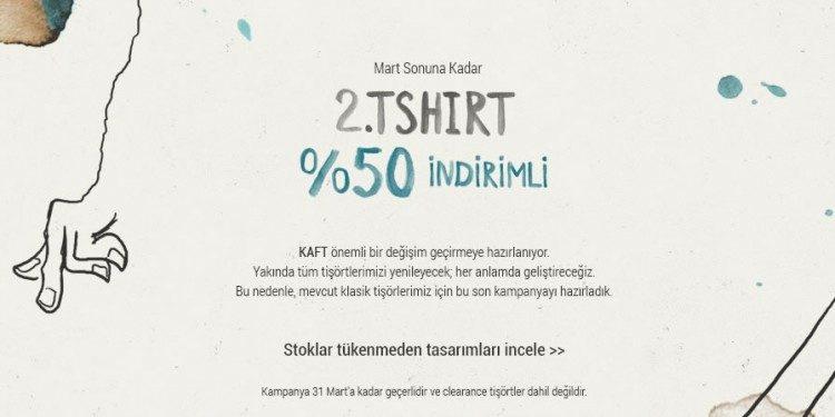 İkinci T-Shirt'e %50 İndirim