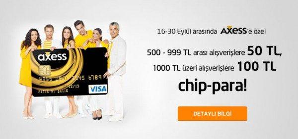 Kliksa'dan Axess ile Alışveriş Yapanlara 100 TL'ye Kadar chip-para Hediye!