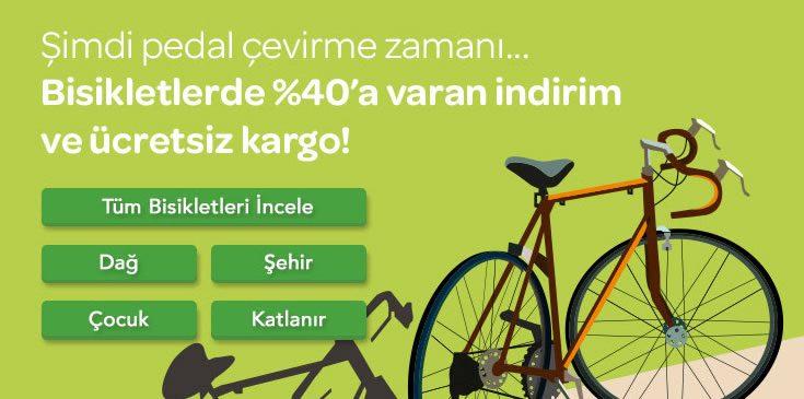 Bisikletlerde %40'a Varan İndirim ve Ücretsiz Kargo