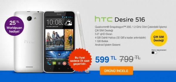 HTC Desire 516 Çift Sim Destekli Akıllı Telefon 599 TL