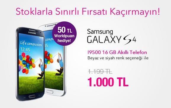 Samsung Galaxy S4 Kliksa İndirimiyle 1000 TL