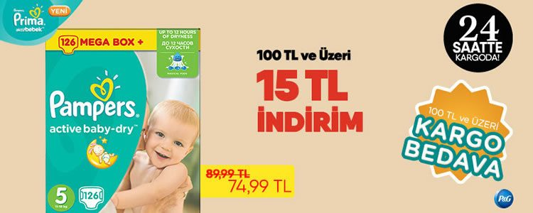 Prima Bebek Bezlerinde 15 TL Ekstra İndirim