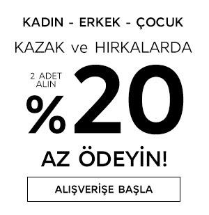 Kazak ve Hırkalarda %20 Az Ödeyin!