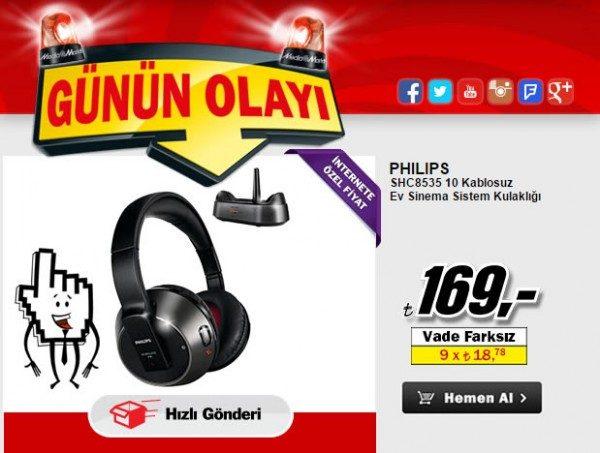 Philips SHC8535/10 Kablosuz Kulaklık 169 TL
