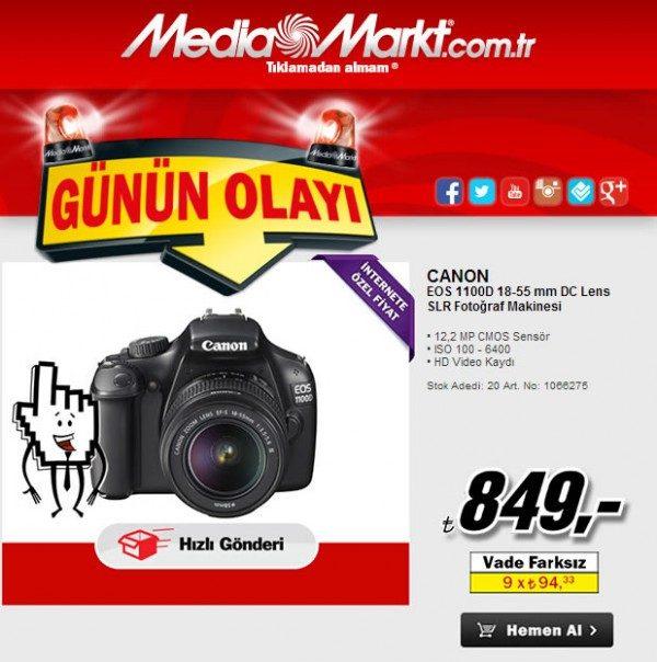 Canon EOS 1100D Fotoğraf Makinesi 849 TL