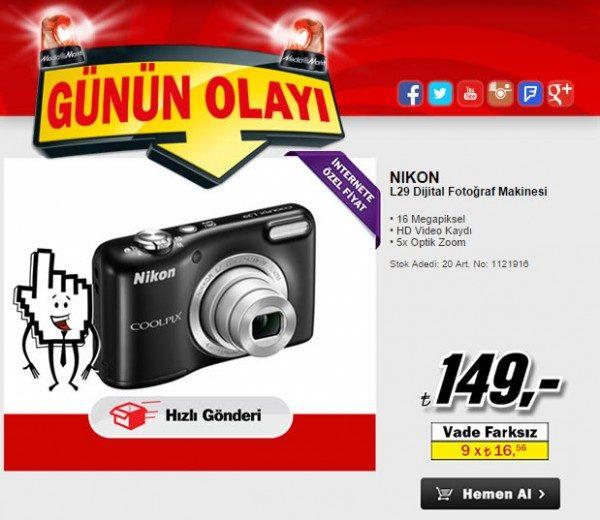 16 MP Nikon Coolpix L29 İnternete Özel İndirimle Sadece 149 TL