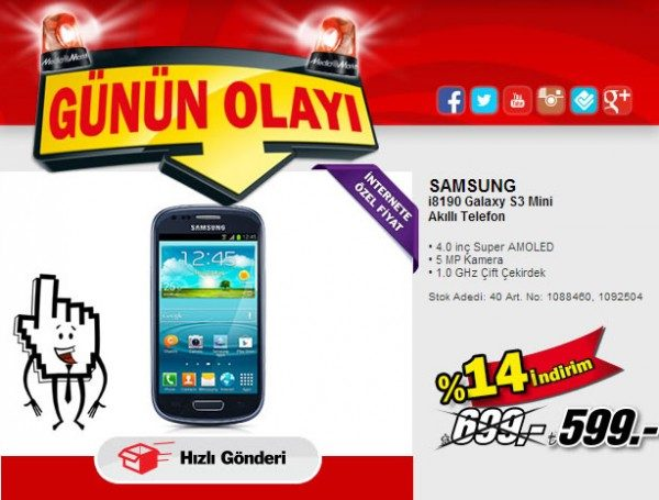 Samsung Galaxy S3 Mini 599 TL