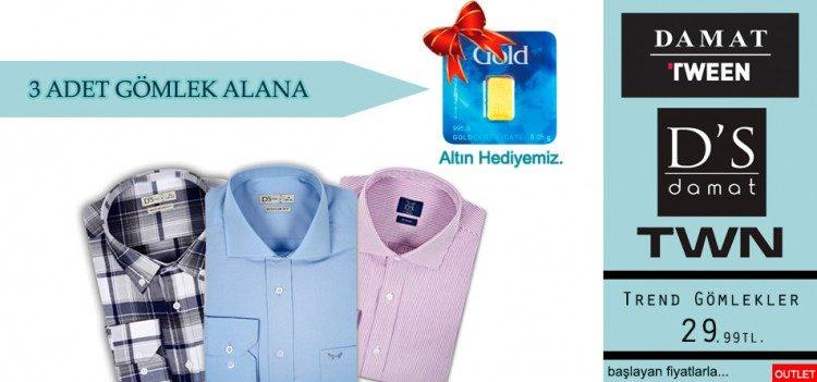 3 Gömlek Alana Külçe Altın Hediye