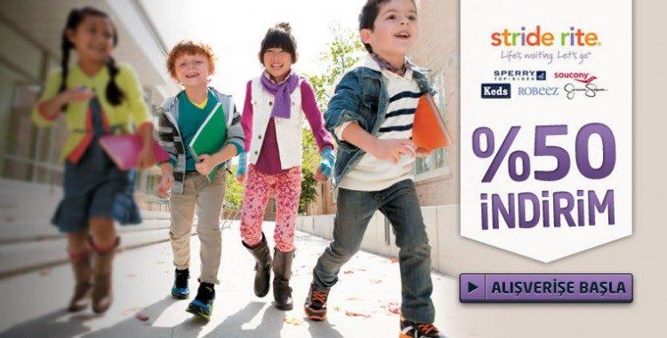 Stride Rite, Keen, Merrell, Keds, Sperry Top-Sider ve Diğer Çocuk Ayakkabılarında %50 İndirim