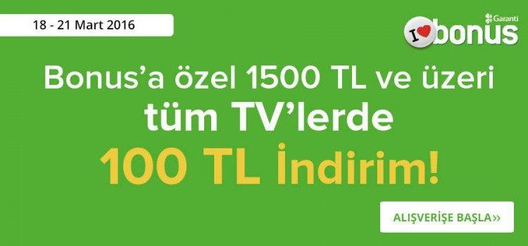 Televizyon Alışverişleriniz 100 TL İndirimli!