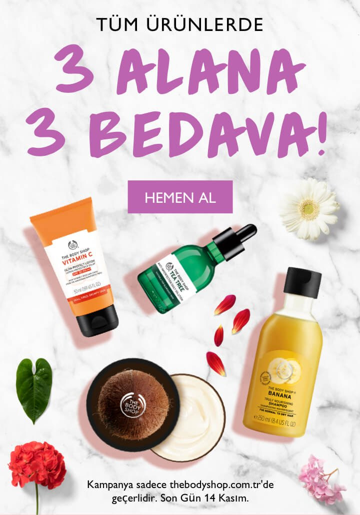 The Body Shop'ta 3 Alana 3 Bedava!