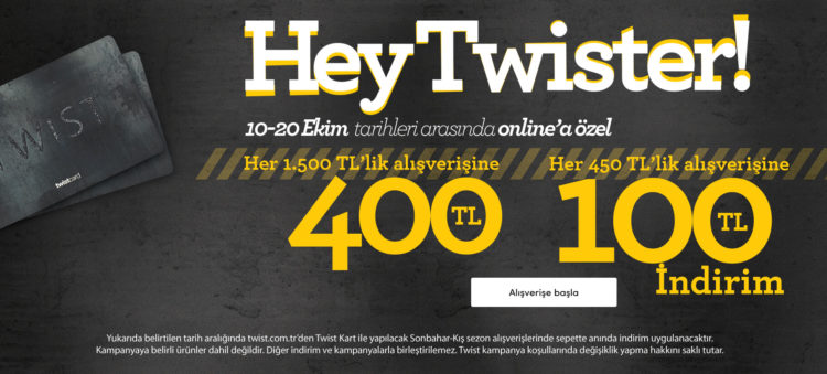 Twist'te Her 450 TL'lik Alışverişe 100 TL İndirim!