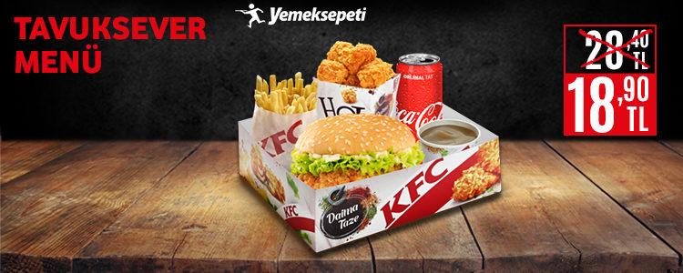 KFC Tavuksever Kutu Menü 28,40 TL Yerine 18,90 TL